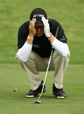 PERTH, AUSTRALIA - NOVEMBER 21:  Gary Wolstenhome of England lines up his putt on the 13th hole during day three of the 2010 Australian Senior Open at Royal Perth Golf Club on November 21, 2010 in Perth, Australia.  (Photo by Paul Kane/Getty Images)