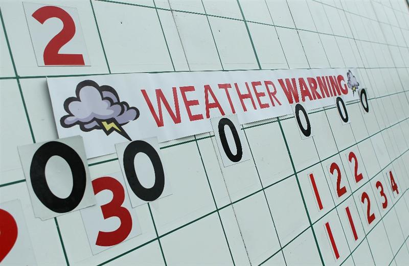 DUBLIN, OH - JUNE 03:  A leaderboard is seen near the 18th hole after play was suspended due to dangerous weather during the first round of the Memorial Tournament presented by Morgan Stanley at Muirfield Village Golf Club on June 3, 2010 in Dublin, Ohio.  (Photo by Scott Halleran/Getty Images)