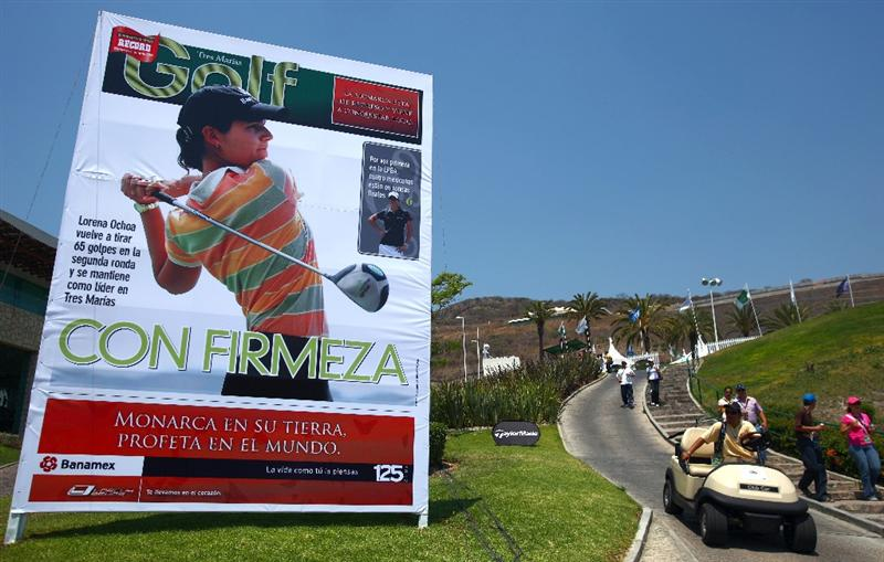 MORELIA, MEXICO- APRIL 25:  Lorena Ochoa of Mexico is seen on a billboard displaying the local daily newspaper during the thrid round of the Corona Championship at the Tres Marias Residential Golf Club on April 25, 2009 in Morelia, Michoacan, Mexico. (Photo by Donald Miralle/Getty Images)