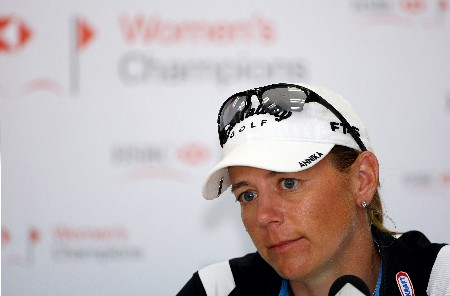 SINGAPORE - FEBRUARY 27:  Annika Sorenstam of Sweden talks to the media after playing in the Pro-Am prior to the start of the HSBC Women's Champions at Tanah Merah Country Club on February 27, 2008 in Singapore.  (Photo by Andrew Redington/Getty Images)