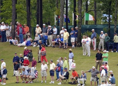 Fans watch the action on the 4th green during the first round of the Regions Charity Classic held at Robert Trent Jones Golf Trail at Ross Bridge in Birmingham, AL, on May 5, 2006.Photo by Steve Levin/WireImage.com