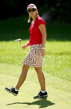 NEW ROCHELLE, NY - JULY 21:  Carin Koch of Sweden reacts to a missed putt on the 13th hole during the third round of the HSBC Women's World Match Play at Wykagyl Country Club on July 21, 2007 in New Rochelle, New York. (Photo by Sam Greenwood/Getty Images)