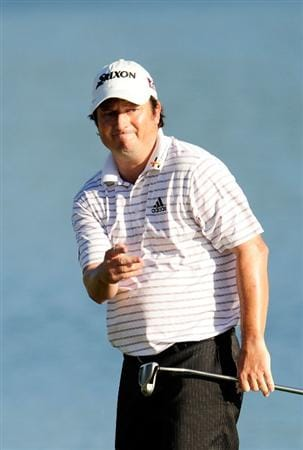 PONTE VEDRA BEACH, FL - MAY 09:  Tim Clark of South Africa watches his missed birdie putt on the 18th green during the final round of THE PLAYERS Championship held at THE PLAYERS Stadium course at TPC Sawgrass on May 9, 2010 in Ponte Vedra Beach, Florida.  (Photo by Sam Greenwood/Getty Images)