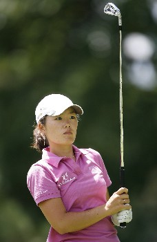 SYLVANIA, OH - JULY 13:  Angela Park of Korea hits her tee shot on the 2nd hole during the second round of the Jamie Farr Owens Corning Classic July 13, 2007 in Sylvania, Ohio.  (Photo by Hunter Martin/Getty Images)