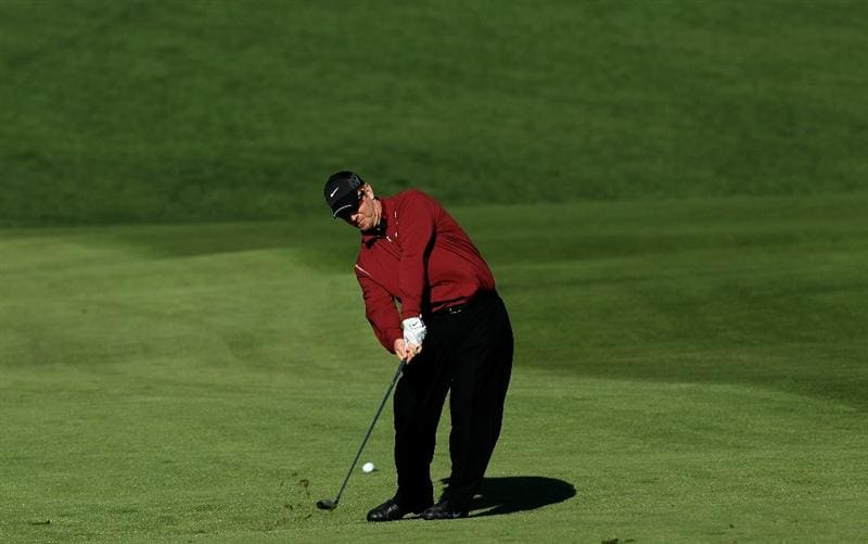 PEBBLE BEACH, CA - FEBRUARY 14:  David Duval hits his second shot on the second hole during the final round of the AT&T Pebble Beach National Pro-Am at Pebble Beach Golf Links on February 14, 2010 in Pebble Beach, California.  (Photo by Stephen Dunn/Getty Images)
