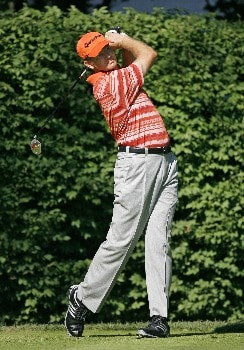 PARAMUS, NJ - AUGUST 21: Retief Goosen of South Africa plays a shot during the first round of The Barclays at Ridgewood Country Club on August 21, 2008 in Paramus, New Jersey. (Photo by Hunter Martin/Getty Images)