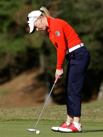 SHIMA, JAPAN - NOVEMBER 06:  Morgan Pressel of United States putts on the 16th during round two of the Mizuno Classic at Kintetsu Kashikojima Country Club on November 6, 2010 in Shima, Japan.  (Photo by Chung Sung-Jun/Getty Images)