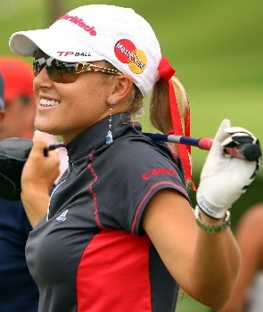 SINGAPORE - FEBRUARY 29:  Natalie Gulbis of the USA stretches on the 16th tee during the second round of the HSBC Women's Champions at Tanah Merah Country Club on February 29, 2008 in Singapore.  (Photo by Andrew Redington/Getty Images)