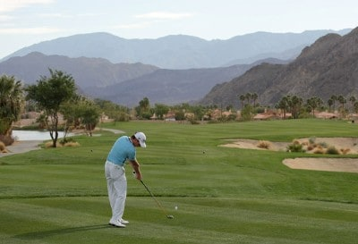 Brett Rumford hits a tee shot on the 13th hole during the first round of the 49th Bob Hope Chrysler Classic at the Silverrock Resort on January 16, 2008 in La Quinta, California. PGA TOUR - 2008 Bob Hope Chrysler Classic - Round OnePhoto by Harry How/WireImage.com