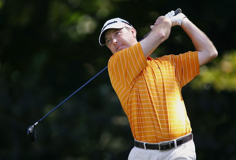 CANONSBURG, PA - SEPTEMBER 05:  Geoffrey Sisk watches his drive on the second hole during the final round of the Mylan Classic presented by CONSOL Energy at Southpointe Golf Club on September 5, 2010 in Canonsburg, Pennsylvania.  (Photo by Gregory Shamus/Getty Images)