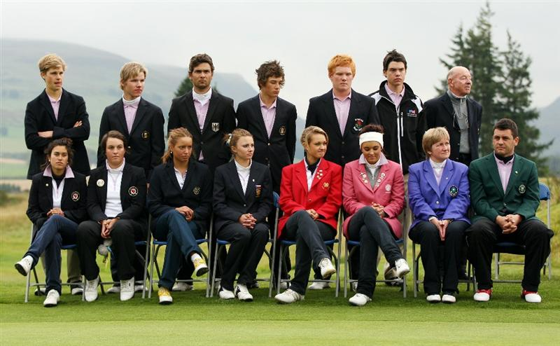 GLENEAGLES, SCOTLAND - SEPTEMBER 28:  Captain Gary Stangl (front R) and the defeated European team pose for a group photo at the end of the second day of play at the Junior Ryder Cup at Gleneagles on September 28 2010 near Muirton, Scotland. (Photo by Ian MacNicol/Getty Images)