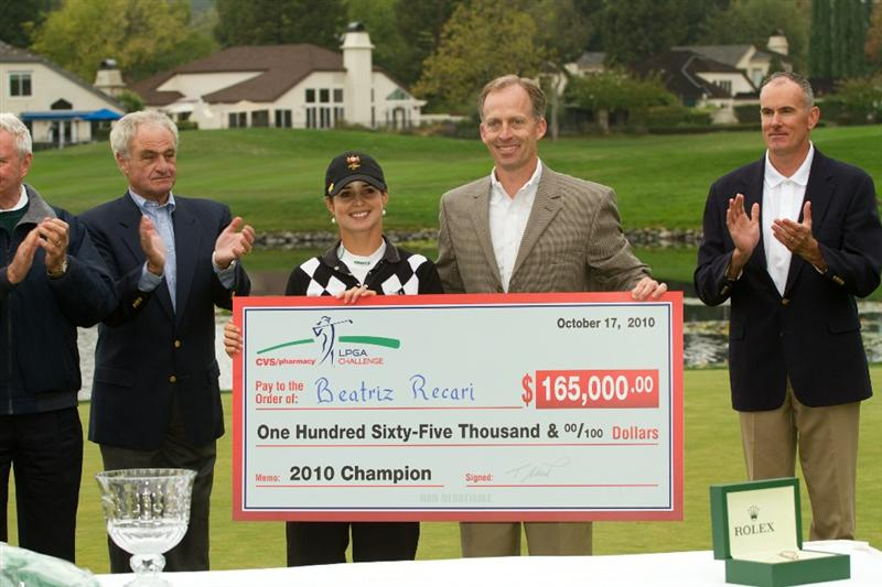 DANVILLE, CA - OCTOBER 17: Beatriz Recari of Spain poses with the winner's check following her victory at the  CVS/Pharmacy LPGA Challenge at Blackhawk Country Club on October 17, 2010 in Danville, California. (Photo by Darren Carroll/Getty Images)