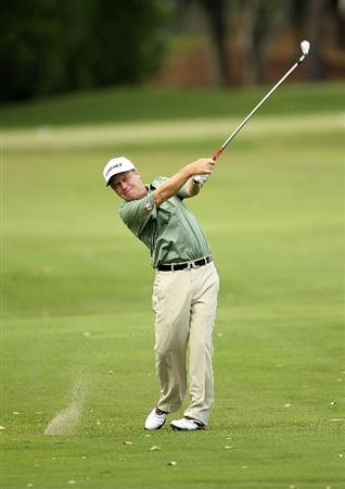 LUTZ, FL - APRIL 16: Jeff Sluman hits his approach on the  14th hole during the second round of the Outback Steakhouse Pro-Am at the TPC of Tampa on April 16, 2011 in Lutz, Florida.  (Photo by Mike Ehrmann/Getty Images)