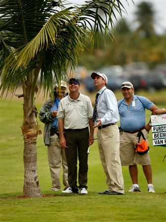 RIO GRANDE, PR - MARCH 12:  Rich Beem looks at his ball lodged in a tree on the third hole during the first round of the 2009 Puerto Rico Open presented by Banco Popular on March 12, 2009 at the Trump International Golf Club in Rio Grande, Puerto Rico.  (Photo by Mike Ehrmann/Getty Images)