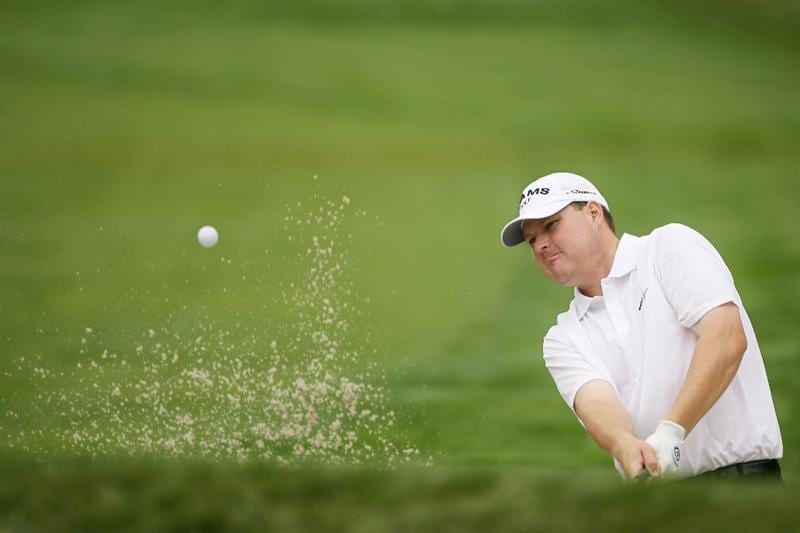 FARMINGDALE, NY - JUNE 19:  Chad Campbell hits from a bunker during the continuation of the first round of the 109th U.S. Open on the Black Course at Bethpage State Park on June 19, 2009 in Farmingdale, New York.  (Photo by Andy Lyons/Getty Images)