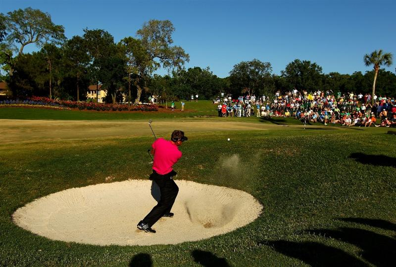 PONTE VEDRA BEACH, FL - MAY 09:  Robert Allenby of Australia plays from a greenside bunker on the 13th hole during the final round of THE PLAYERS Championship held at THE PLAYERS Stadium course at TPC Sawgrass on May 9, 2010 in Ponte Vedra Beach, Florida.  (Photo by Richard Heathcote/Getty Images)