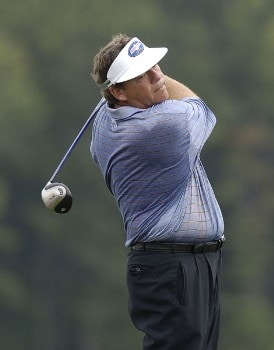 Joey Sindelar hits his tee ball on the 18th hole during the second round of the 84 Lumber Classic on Friday, September 16, 2005  held at the Mystic Rock Golf Course/Nemacolin Woodlands Resort  in Farmington, PennsylvaniaPhoto by Marc Feldman/WireImage.com