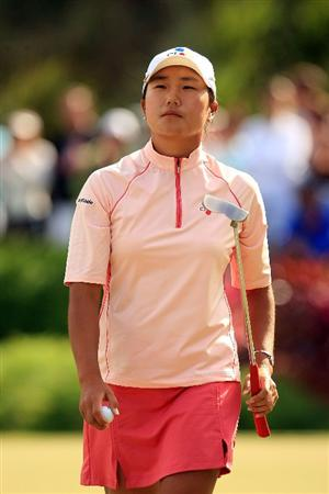 WEST PALM BEACH, FL - NOVEMBER 23:  Seon Hwa Lee of South Korea reacts to a double-bogey on the 17th hole during the final round of the ADT Championship at the Trump International Golf Club on November 23, 2008 in West Palm Beach, Florida.  (Photo by Scott Halleran/Getty Images)