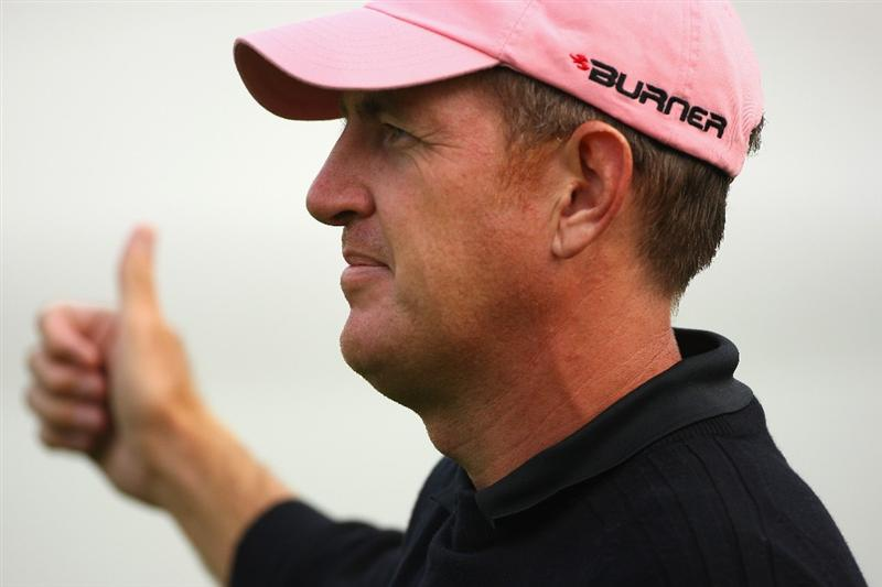 SUTTON COLDFIELD, UNITED KINGDOM - SEPTEMBER 26:  Greg Owen of England gives a thumbs-up on the tenth hole during the second round of the Quinn Insurance British Masters on the Brabazon Course at The Belfry on September 26, 2008 in Sutton Coldfield, England.  (Photo by Andrew Redington/Getty Images)