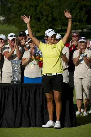 ROGERS, AR - SEPTEMBER 12:  Yani Tseng of Taiwan celebrates after winning the P&G NW Arkansas Championship at the Pinnacle Country Club on September 12, 2010 in Rogers, Arkansas.  (Photo by Robert Laberge/Getty Images)