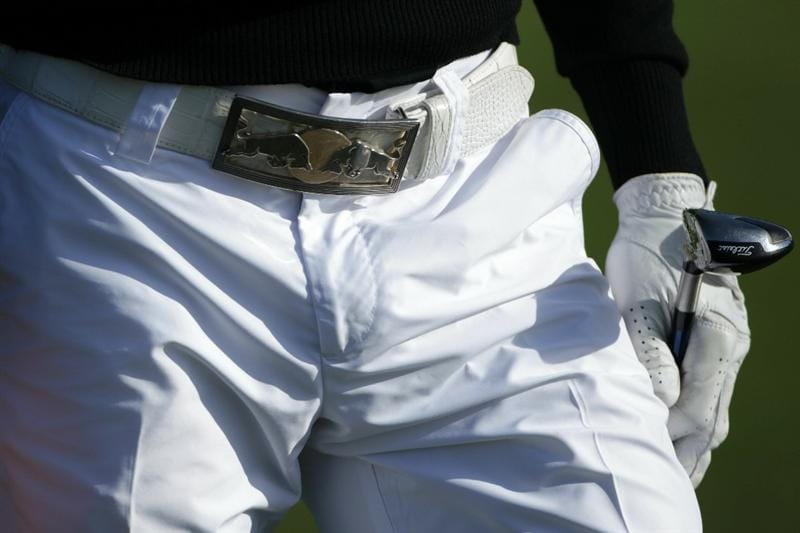 PEBBLE BEACH, CA - JUNE 16:  A detailed shot of Camilo Villegas' belt buckle is seen during a practice round prior to the start of the 110th U.S. Open at Pebble Beach Golf Links on June 16, 2010 in Pebble Beach, California.  (Photo by Andrew Redington/Getty Images)