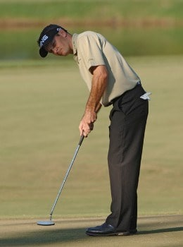 Mark Wilson putts for a birdie on the third green during the first round on the Copperhead Course of the 2005 Chrysler Championship October 27 in Palm Harbor, Florida.Photo by Al Messerschmidt/WireImage.com