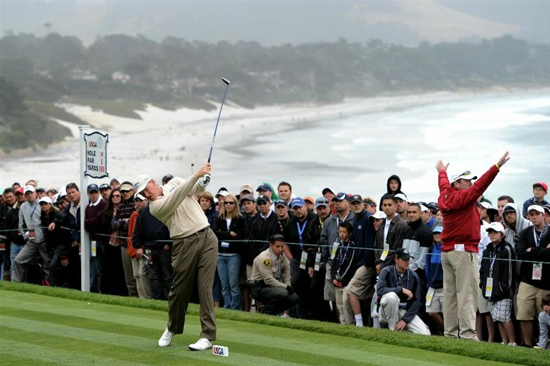 PEBBLE BEACH, CA - JUNE 18:  Ernie Els of South Africa hits his tee shot on the 14th hole during the second round of the 110th U.S. Open at Pebble Beach Golf Links on June 18, 2010 in Pebble Beach, California.  (Photo by Harry How/Getty Images)