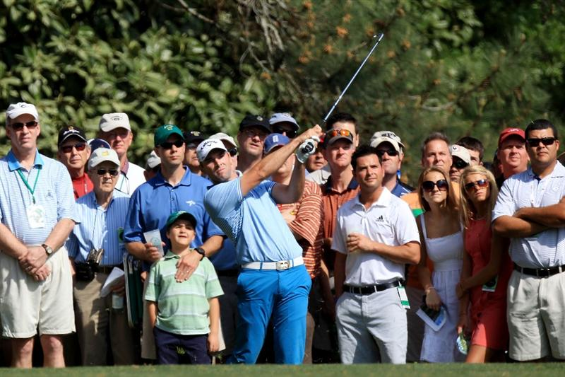 AUGUSTA, GA - APRIL 08:  Oliver Wilson of England plays his third shot on the fifth hole in front of a gallery of fans during the first round of the 2010 Masters Tournament at Augusta National Golf Club on April 8, 2010 in Augusta, Georgia.  (Photo by David Cannon/Getty Images)