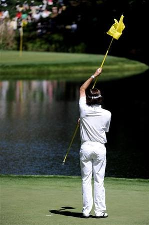 AUGUSTA, GA - APRIL 06:   Bubba Watson waits on a green during the Par 3 Contest prior to the 2011 Masters Tournament at Augusta National Golf Club on April 6, 2011 in Augusta, Georgia.  (Photo by Harry How/Getty Images)