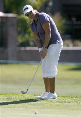 DANVILLE, CA - OCTOBER 9: Maria Hjorth of Sweden watches a chip shot on the 8th hole during the first round of the LPGA Longs Drugs Challenge at the Blackhawk Country Club October 9, 2008 in Danville, California. (Photo by Max Morse/Getty Images)