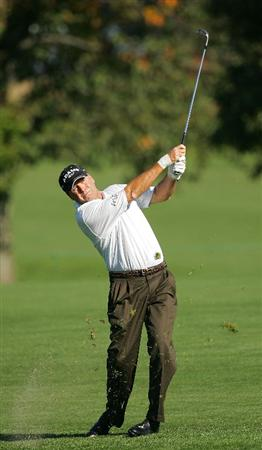TIMONIUM, MD - OCTOBER 10:  D.A. Weibring plays a fairway shot during the second round of the Constellation Energy Senior Players Championship at Baltimore Country Club East Course held on October 10, 2008 in Timonium, Maryland  (Photo by Michael Cohen/Getty Images)