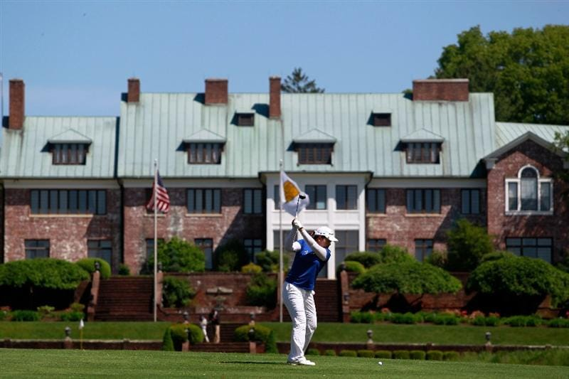 GLADSTONE, NJ - MAY 21:  Imbee Park of South Korea hits her second shot to the ninth hole in round three of the Sybase Match Play Championship at Hamilton Farm Golf Club on May 21, 2011 in Gladstone, New Jersey.  (Photo by Chris Trotman/Getty Images)