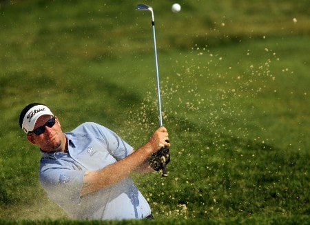 OAKMONT, PA - JUNE 15:  Kenneth Ferrie of England plays a bunker shot on the eighth hole during the second round of the 107th U.S. Open Championship at Oakmont Country Club on June 15, 2007 in Oakmont, Pennsylvania.  (Photo by Sam Greenwood/Getty Images)