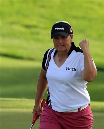 RANCHO MIRAGE, CA - APRIL 03:  Karen Stupples of England celebrates holing a long birdie putt at the 17th hole the third round of the 2010 Kraft Nabisco Championship, on the Dinah Shore Course at The Mission Hills Country Club, on April 3, 2010 in Rancho Mirage, California.  (Photo by David Cannon/Getty Images)