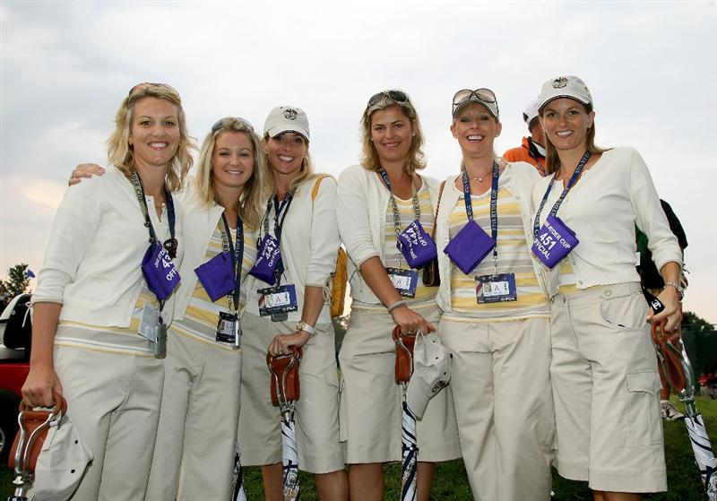 LOUISVILLE, KY - SEPTEMBER 20:  (L-R) Emma Stenson, Laura Smith, Valerie Faldo, Ebba Karlsson, Caroline Harrington and Kate Rose pose during the morning foursome matches on day two of the 2008 Ryder Cup at Valhalla Golf Club on September 20, 2008 in Louisville, Kentucky.  (Photo by David Cannon/Getty Images)