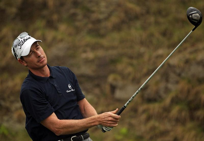 ICHEON, SOUTH KOREA - APRIL 30:  Brett Rumford of Australia in action during the third round of the Ballantine's Championship at Blackstone Golf Club on April 30, 2011 in Icheon, South Korea.  (Photo by Andrew Redington/Getty Images)