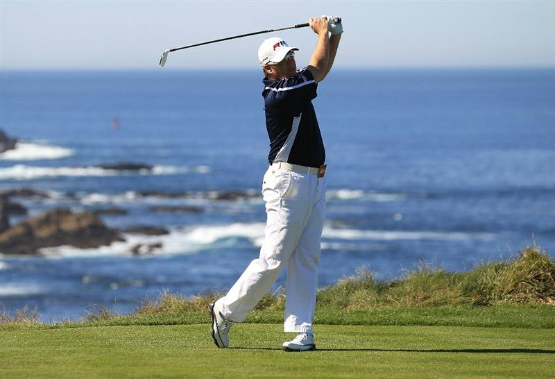 PEBBLE BEACH, CA - FEBRUARY 11:  D.A. Points hits from the third tee at the AT&T Pebble Beach National Pro-Am- Round Two at the Spyglass golf club on February 11, 2011 in Pebble Beach, California.  (Photo by Jed Jacobsohn/Getty Images)