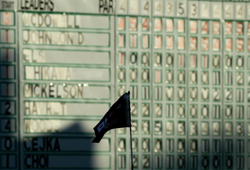 PEBBLE BEACH, CA - JUNE 19:  A flagstick and leaderboard are seen on the 18th green during the third round of the 110th U.S. Open at Pebble Beach Golf Links on June 19, 2010 in Pebble Beach, California.  (Photo by Stephen Dunn/Getty Images)