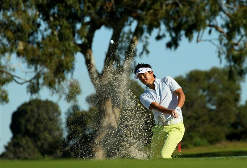 LA JOLLA, CA - JANUARY 27:  Ryuji Imada of Japan hits from a bunker on the second hole during round one of the Farmers Insurance Open at Torrey Pines North Course on January 27, 2011 in La Jolla, California.  (Photo by Stephen Dunn/Getty Images)