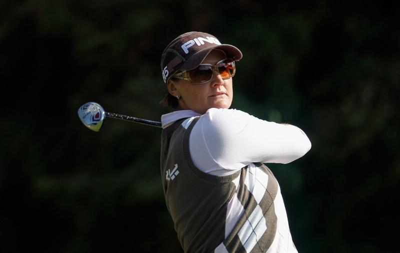 ORLANDO, FL - DECEMBER 05:  Maria Hjorth of Sweden hits her tee shot on the fourth hole during the final round of the LPGA Tour Championship at the Grand Cypress Resort on December 5, 2010 in Orlando, Florida.  (Photo by Scott Halleran/Getty Images)