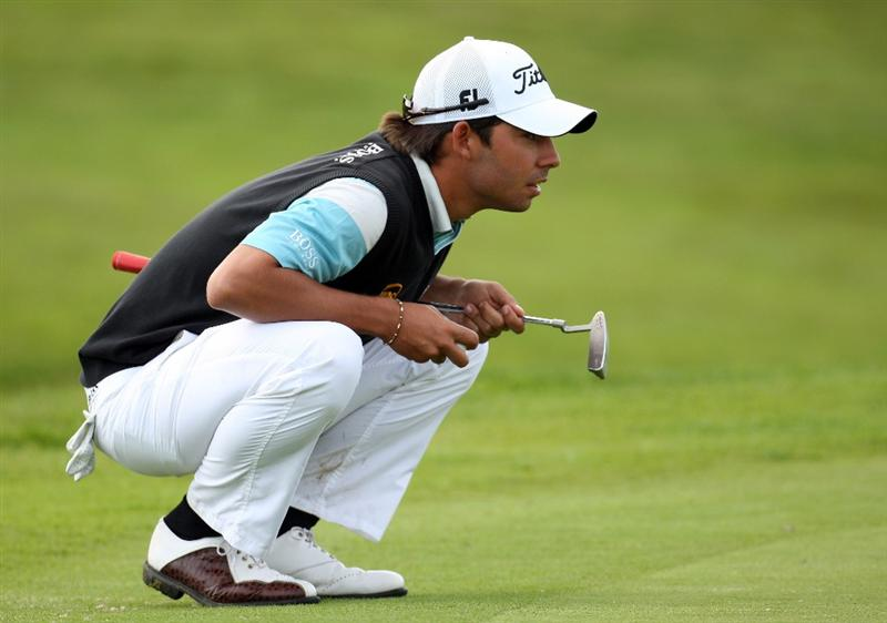 AUCHTERARDER, SCOTLAND - AUGUST 28: Pablo Larrazabal of Spain line ups a putt during the second round of the Johnnie Walker Championship on the PGA Centenary Course at Gleneagles  on August 28, 2009 in Auchterarder, Scotland.  (Photo by Ross Kinnaird/Getty Images)
