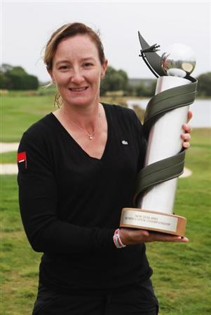 CHRISTCHURCH, NEW ZEALAND - FEBRUARY 01:  Gwladys Nocera of France holds the trophy after winning the New Zealand Women`s Open held at Clearwater Golf Course February 1, 2009 in Christchurch, New Zealand.  (Photo by Sandra Mu/Getty Images)