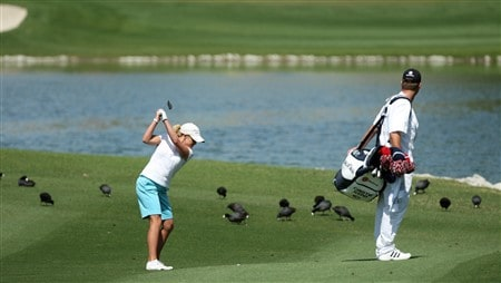 RANCHO MIRAGE, CA - APRIL 06:  Cristie Kerr of the USA hits her second shot at the 6th hole during the final round of the Kraft Nabisco Championship at the Mission Hills Country Club, on April 6, 2008 in Rancho Mirage, California.  (Photo by David Cannon/Getty Images)