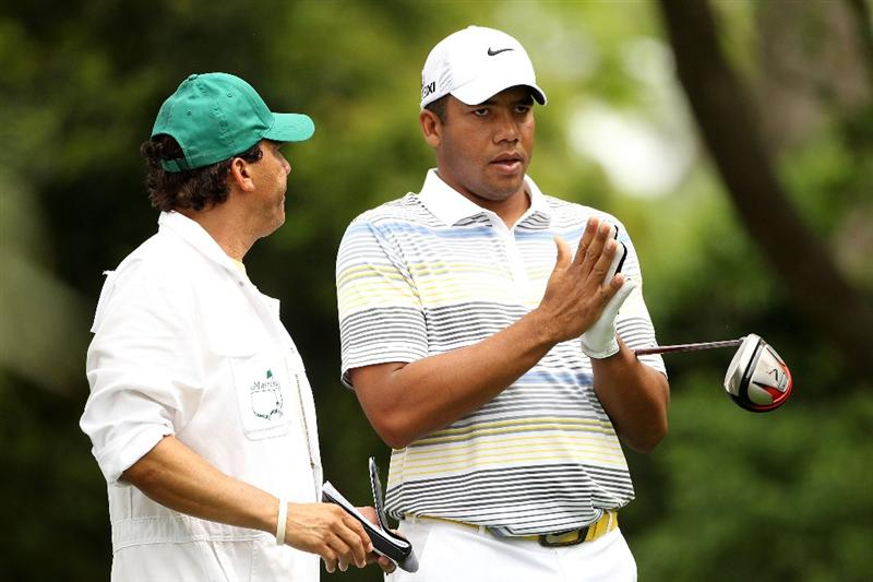 AUGUSTA, GA - APRIL 08:  Jhonattan Vegas of Venezuela talks with his caddie on the second hole during the second round of the 2011 Masters Tournament at Augusta National Golf Club on April 8, 2011 in Augusta, Georgia.  (Photo by Andrew Redington/Getty Images)