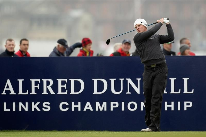 ST ANDREWS, SCOTLAND - OCTOBER 10:  Danny Willett of England drives off the fourth tee during the final round of The Alfred Dunhill Links Championship at The Old Course on October 10, 2010 in St Andrews, Scotland. (Photo by Ross Kinnaird/Getty Images)