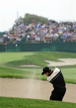 SAN DIEGO - JUNE 14:  Phil Mickelson plays a bunker shot on the fifth hole during the third round of the 108th U.S. Open at the Torrey Pines Golf Course (South Course) on June 14, 2008 in San Diego, California.  (Photo by Harry How/Getty Images)