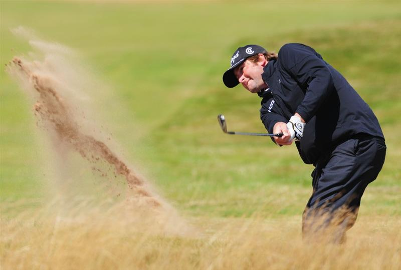 TURNBERRY, SCOTLAND - JULY 19:   Steve Marino of USA hits out of a bunker on the 3rd hole during the final round of the 138th Open Championship on the Ailsa Course, Turnberry Golf Club on July 19, 2009 in Turnberry, Scotland.  (Photo by Stuart Franklin/Getty Images)