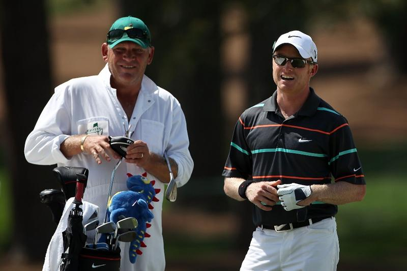 AUGUSTA, GA - APRIL 05:  Simon Dyson of England (R) stands with his caddie during a practice round prior to the 2010 Masters Tournament at Augusta National Golf Club on April 5, 2010 in Augusta, Georgia.  (Photo by Andrew Redington/Getty Images)