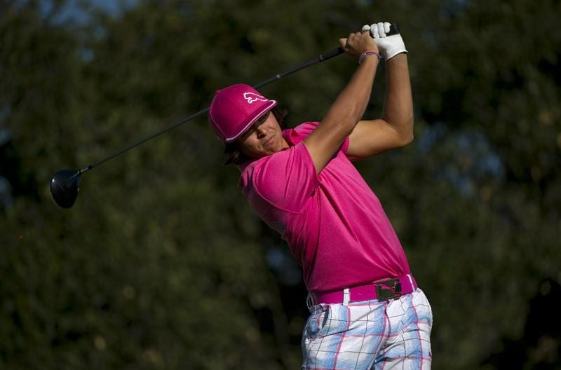 SAN MARTIN, CA - OCTOBER 14:  Rickie Fowler makes a tee shot on the 18th hole during the first round of the Frys.com Open at the Corde Valle Country Club on October 14, 2010 in San Martin, California.  (Photo by Robert Laberge/Getty Images)
