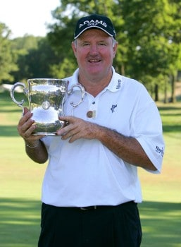 Allen Doyle holds the winner's trophy after winning the championship round of the 2005 U.S. Senior Open Championsip at NCR Country Club in Kettering, Ohio July 31, 2005.Photo by Stan Badz/PGA TOUR/WireImage.com